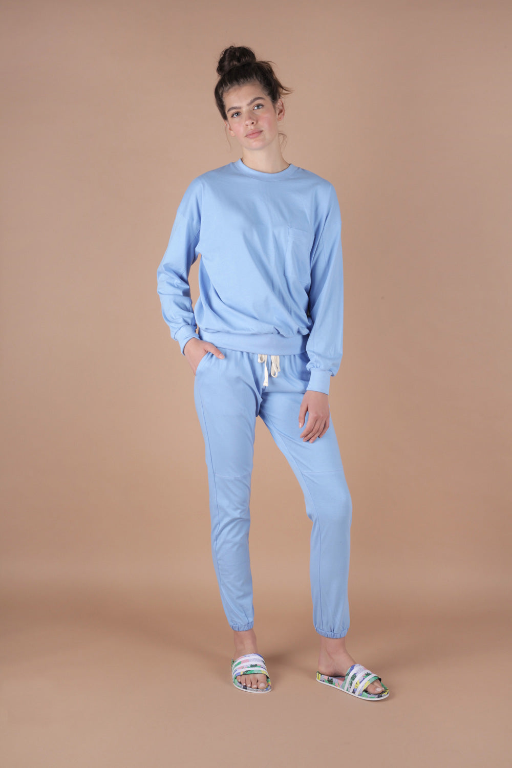 Essential 100% Cotton Jersey Sweatpants Set In Azure