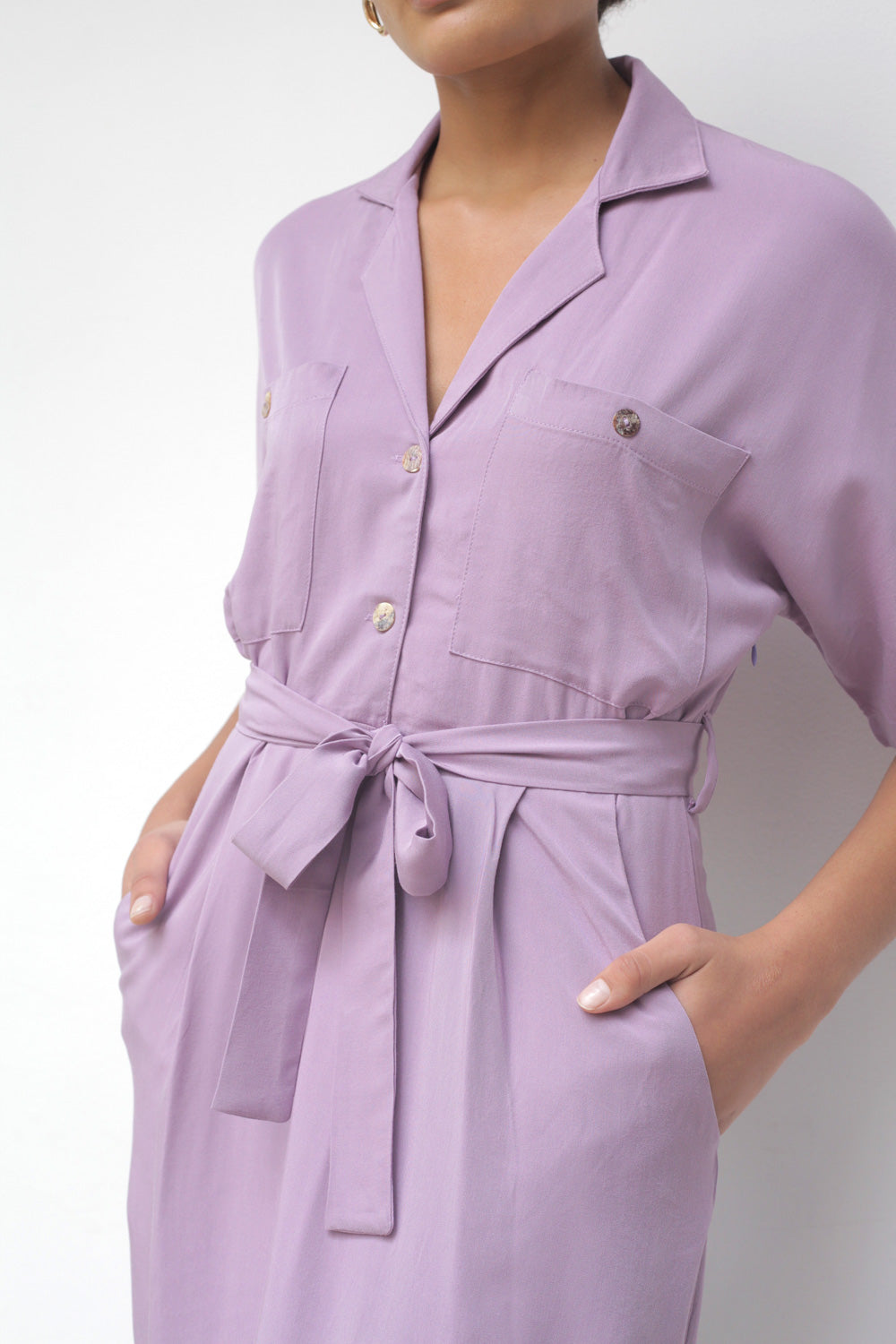 Off Duty Pocket Dress In Orchid Rayon Twill