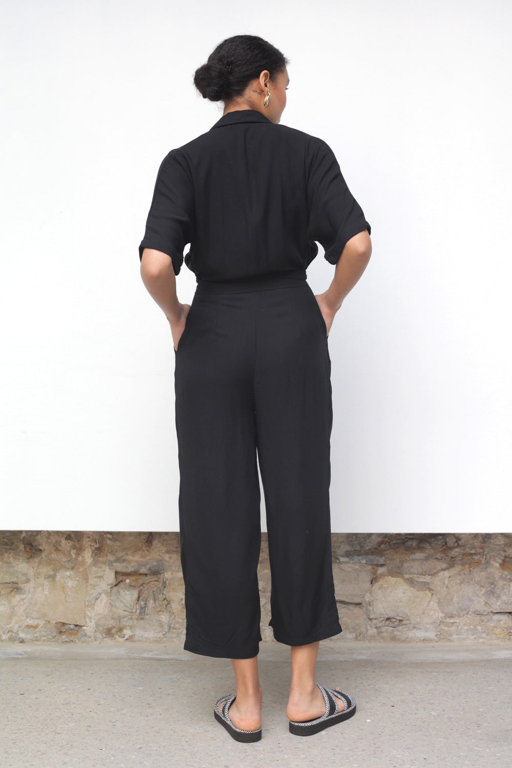 Drama Cropped Jumpsuit In Black Rayon Twill