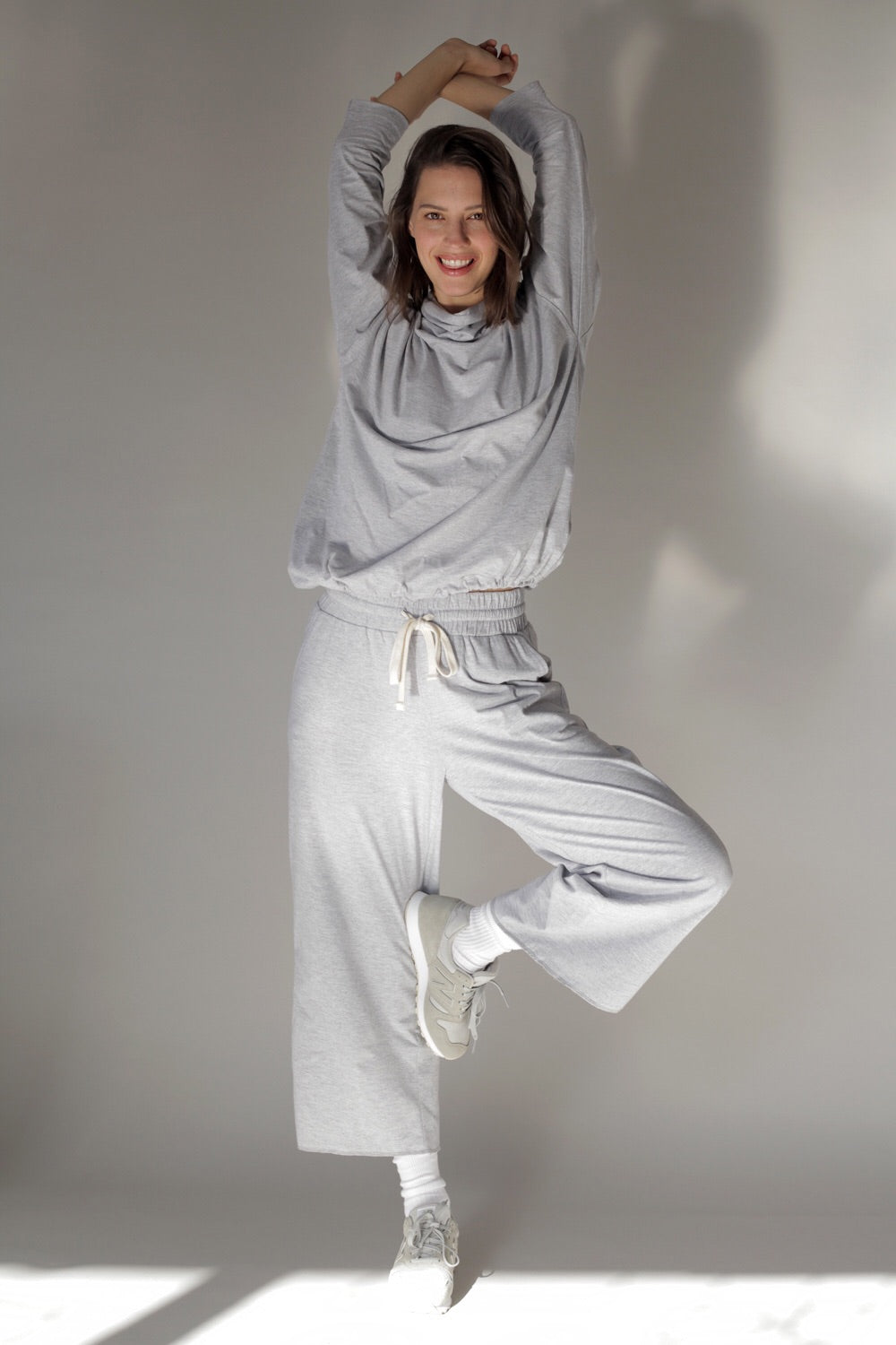 Cotton Jersey Wide Leg Set In Grey Melange