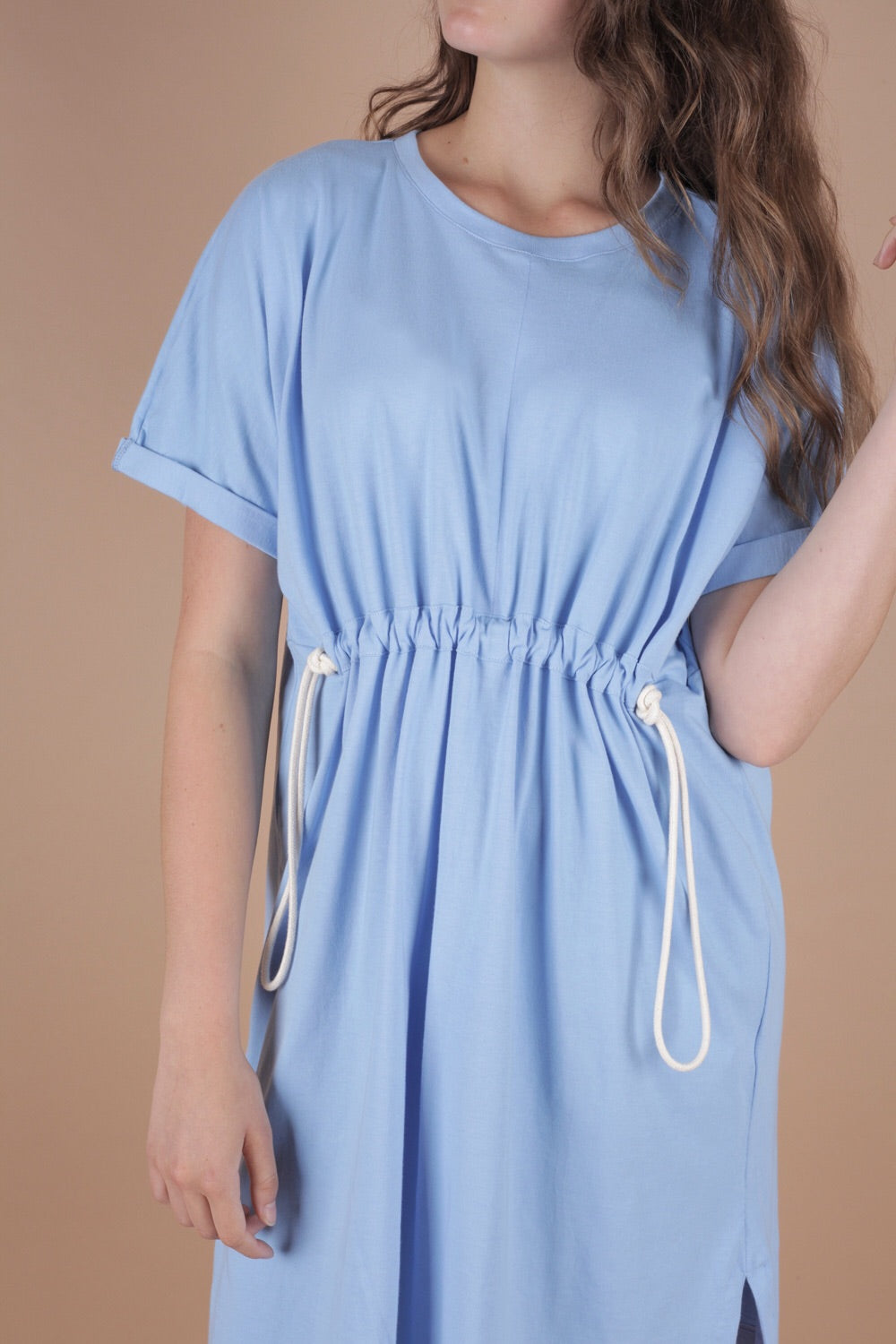 Gathered Rope Detail Caftan Dress In Azure