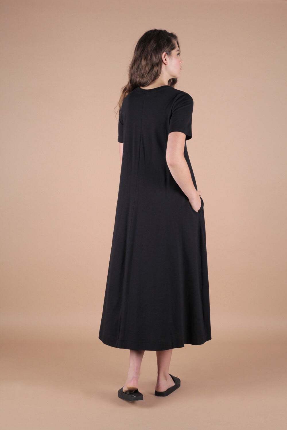 Essential A-Line T Shirt Dress In Black