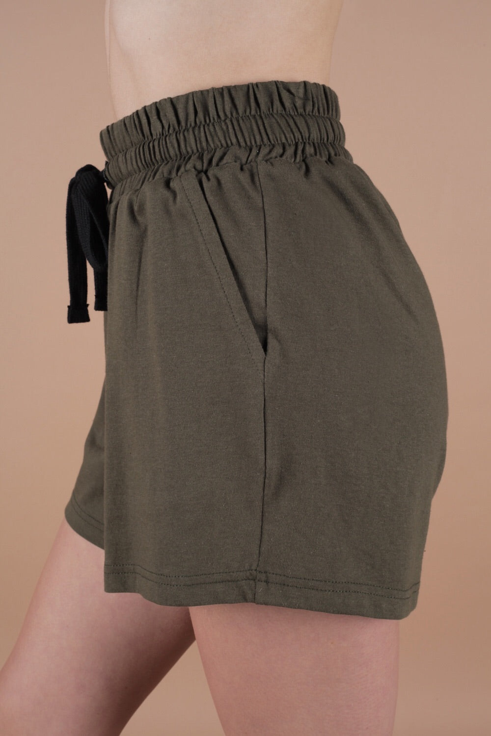Summer 100% Cotton Jersey Shorts Set In Moss