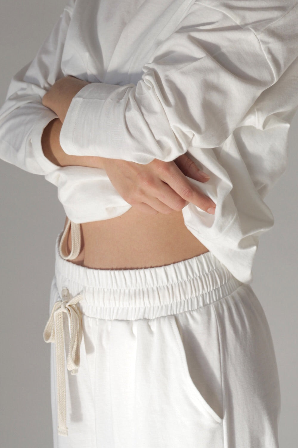Cotton Jersey Wide Leg Set In Milk