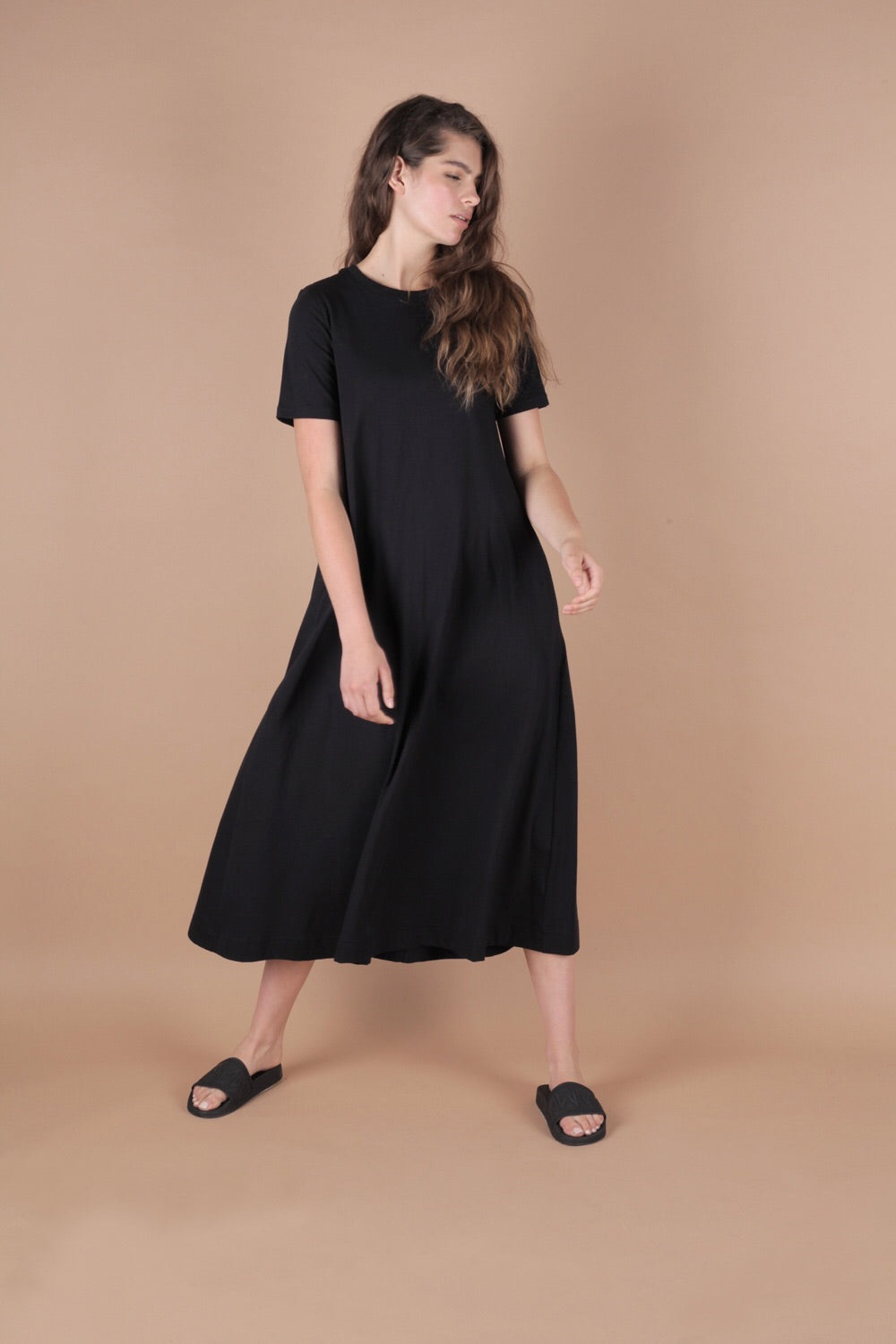 Essential A-Line T Shirt Dress In Slate