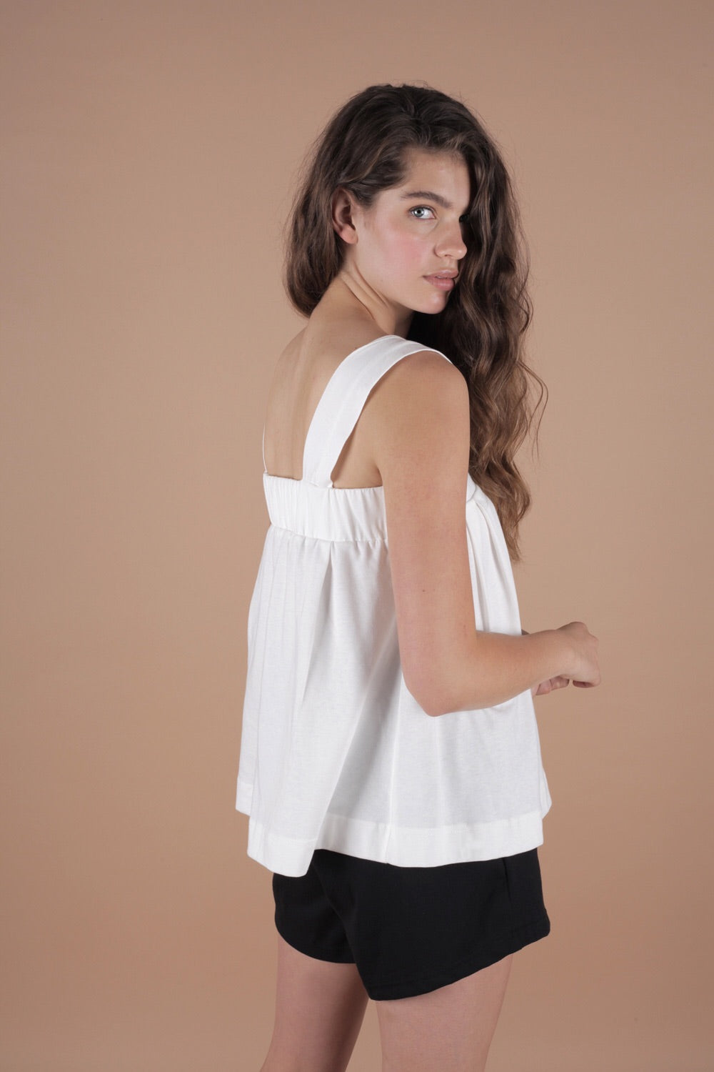 Wide Strap Cropped Top In Milk