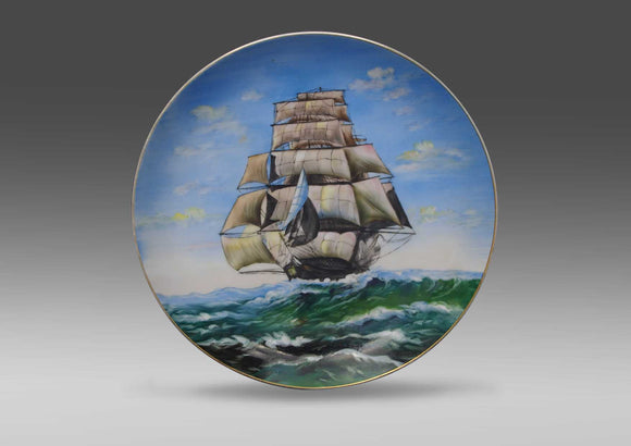 Y. Funabashi, Hand painted ceramic wall plate - Ship