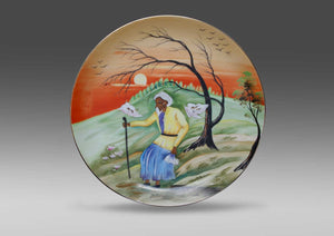 Y. Funabashi, Hand painted ceramic wall plate - Old Man