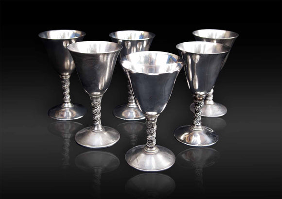 European - Six White Metal Wine Glasses