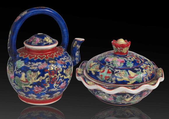 Chinese Famille Verte style Tea Pot and  Jar with Cover