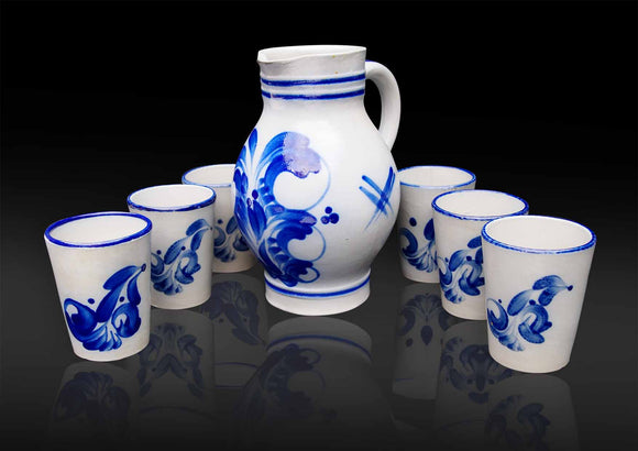 Continental Hand painted Pottery Jug & glasses