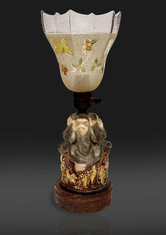Royal Satsuma Table Lamp depicting three Monkeys