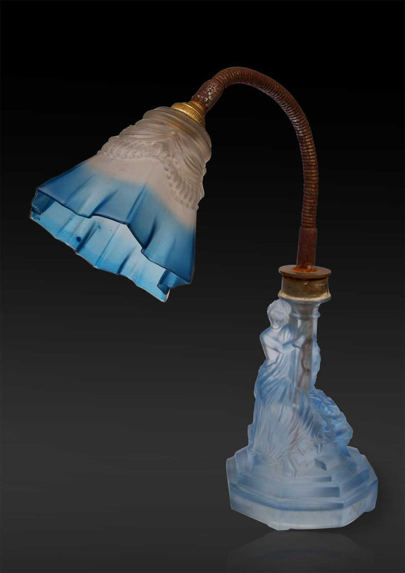 French Blue Frosted Glass Study Table Lamp