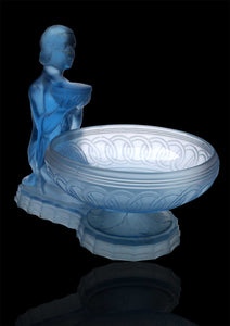 Art Deco Blue Frosted Glass Figural Centre Piece