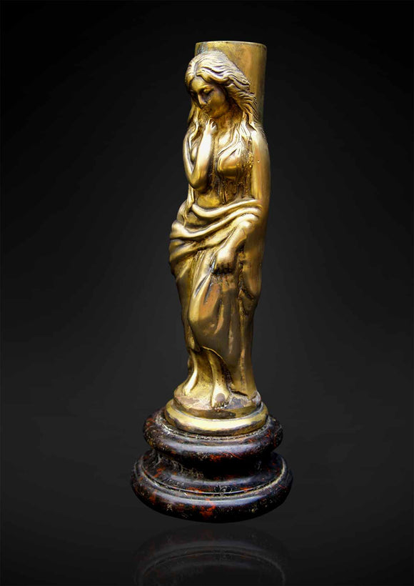 Spelter figure of a lady in 'wet look' drape