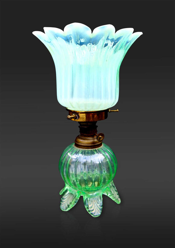 French Green Vaseline Glass Oil Lamp