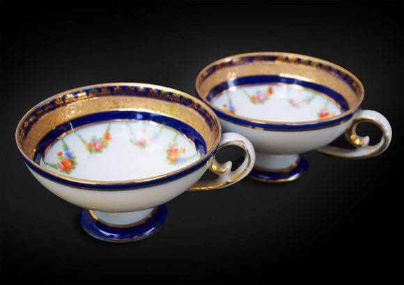 Pair of French Gold Gilded Tea Cup and Saucer
