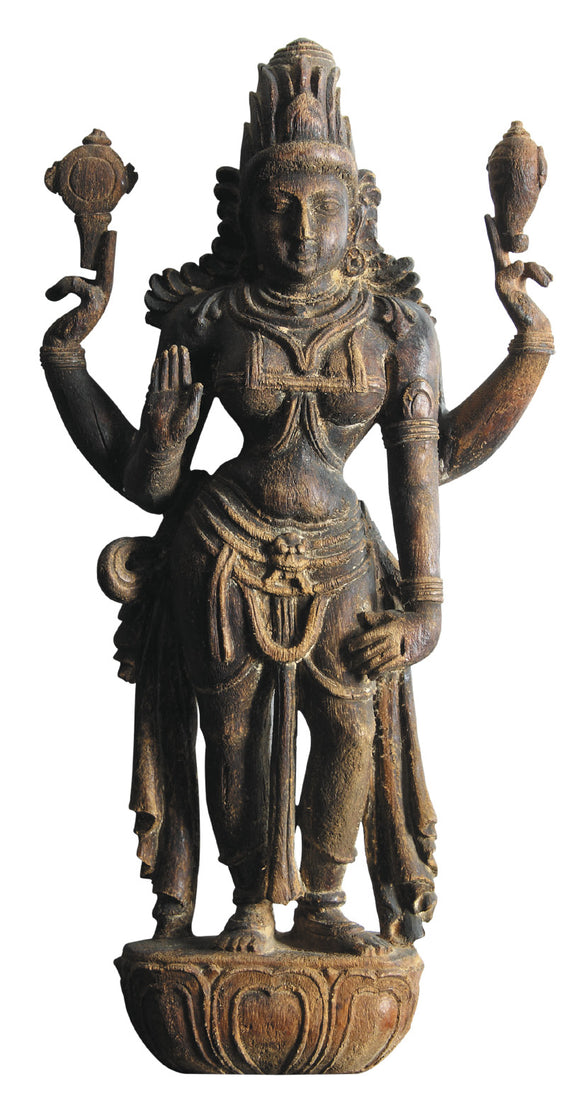 Intricately carved wooden statue of Lord Lakshmi