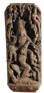 Wooden Carved Panel of Dancing Shiva