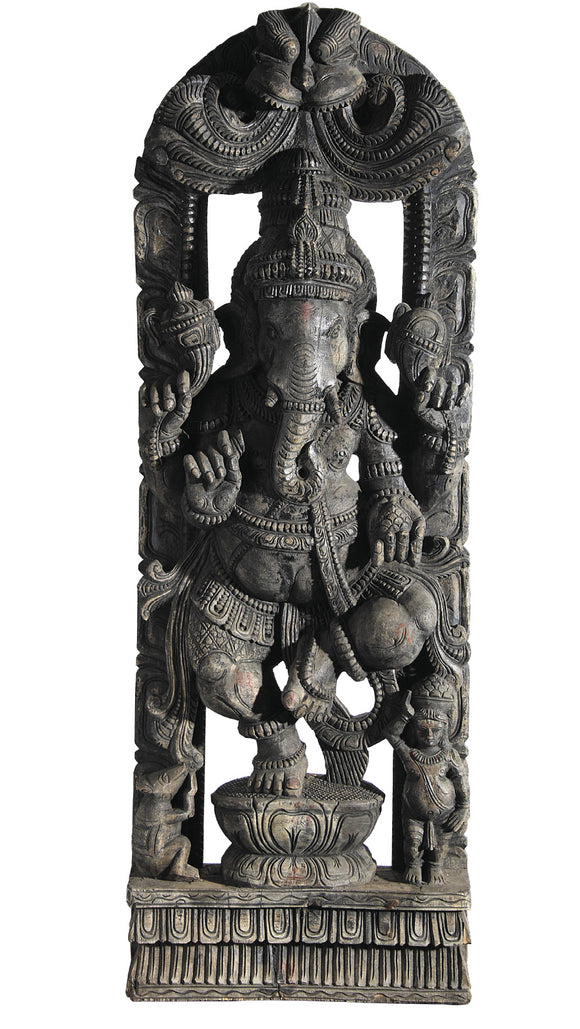 South Indian Wooden Carved Ganesha