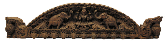 Rare Teak Wood Door Panel - Gajalakshmi