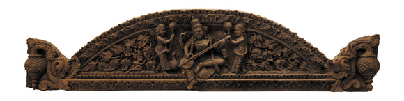 Rare Teak Wood Door Panel - Saraswathi