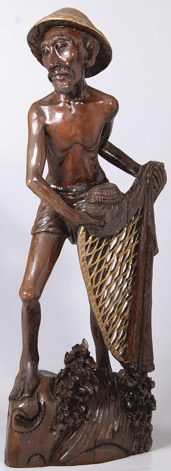 Burmese Teakwood sculpture of fisherman