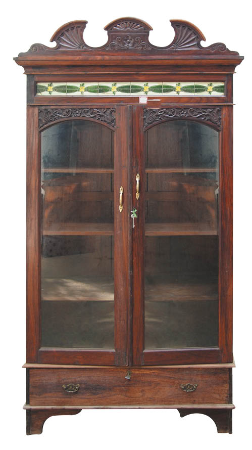 Rosewood glazed display cabinet