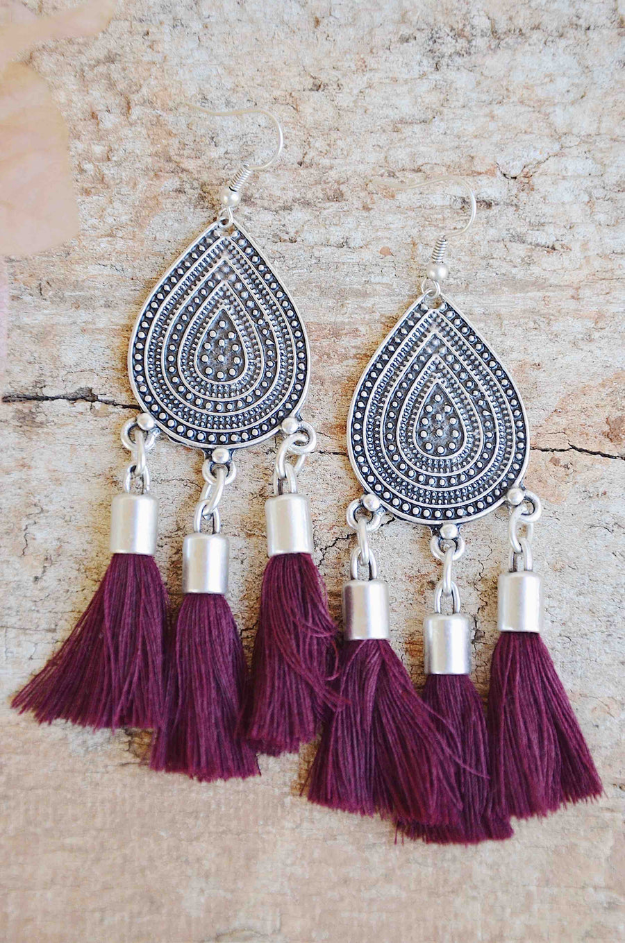 Shantay Tassel Earrings ✧ Wine