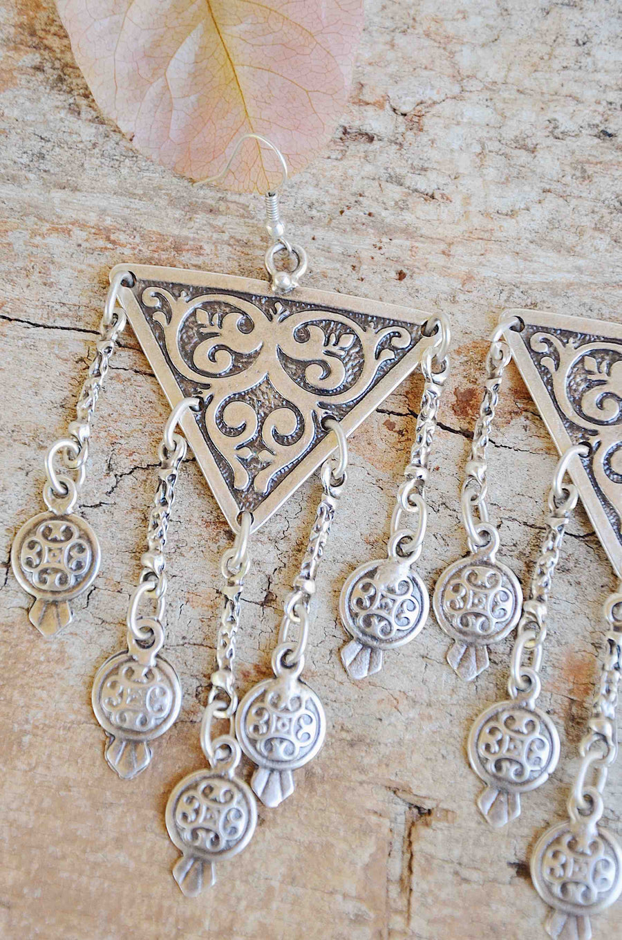 Handmade Turkish Silver Dangle Earrings