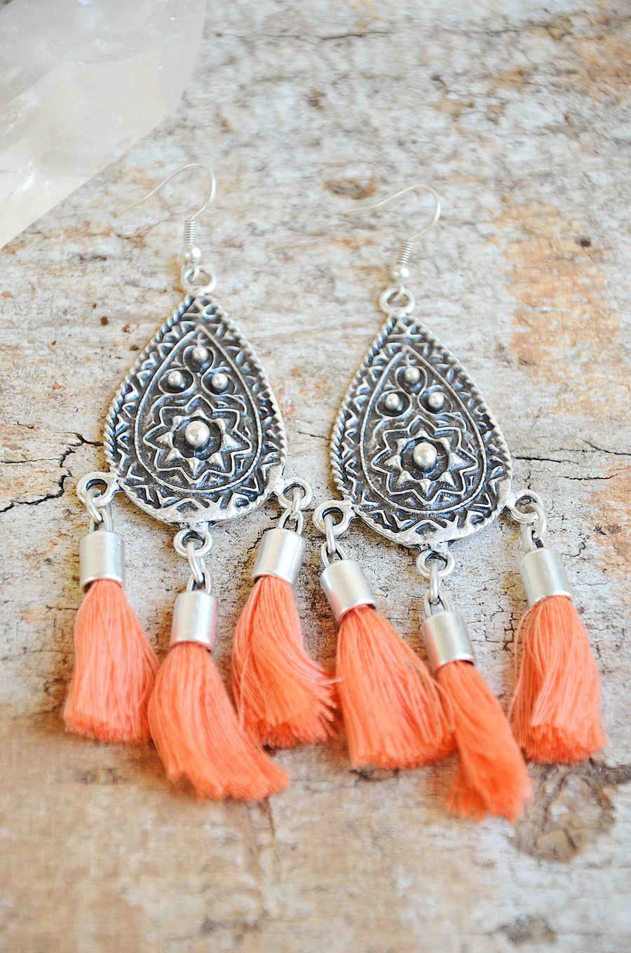 Sierra Tassel Earrings ✧ Tangerine