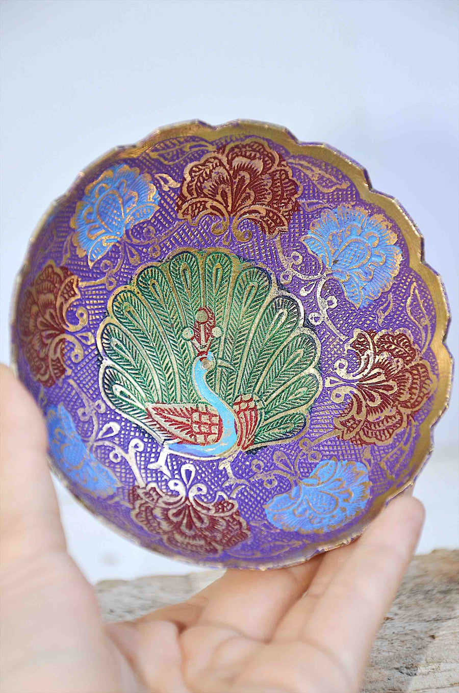 Hand painted Peacock Indian Small Brass Bowl