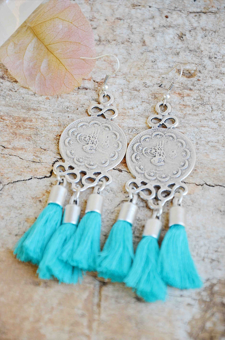 Silver Tassel Earrings Turquoise