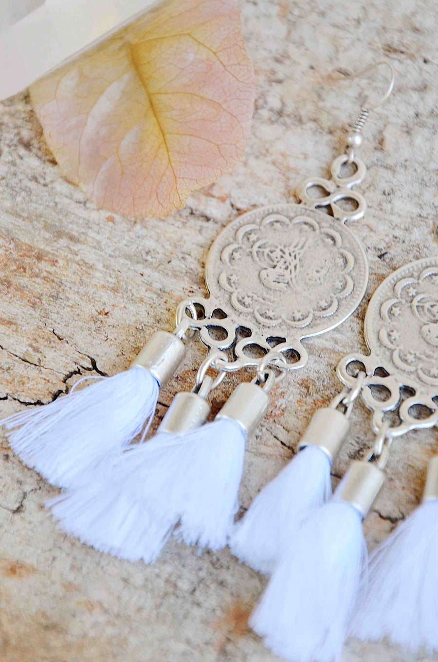 Silver Tassel Earrings in White
