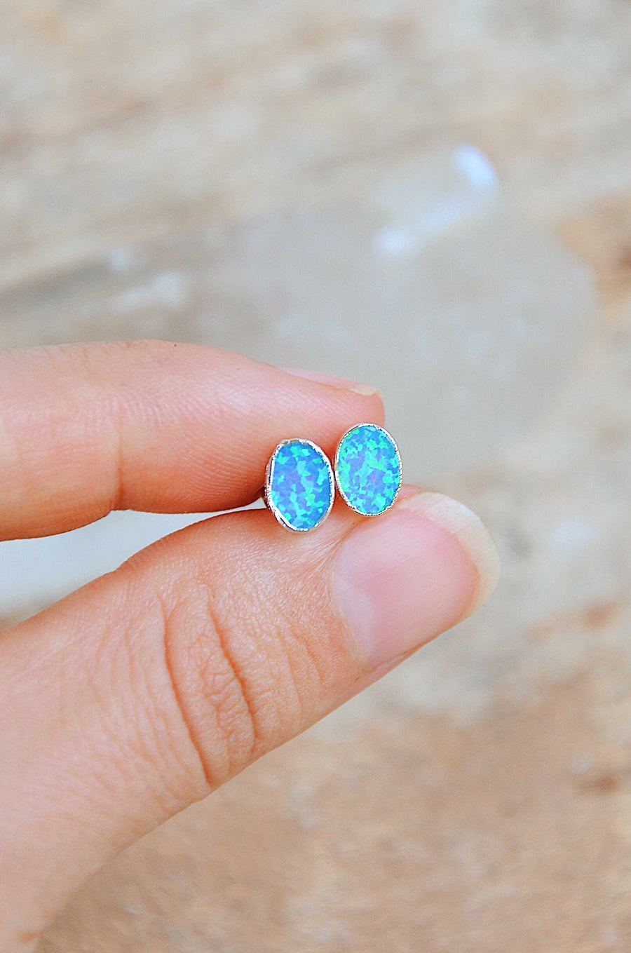 Sterling Silver Opal Earrings Blue