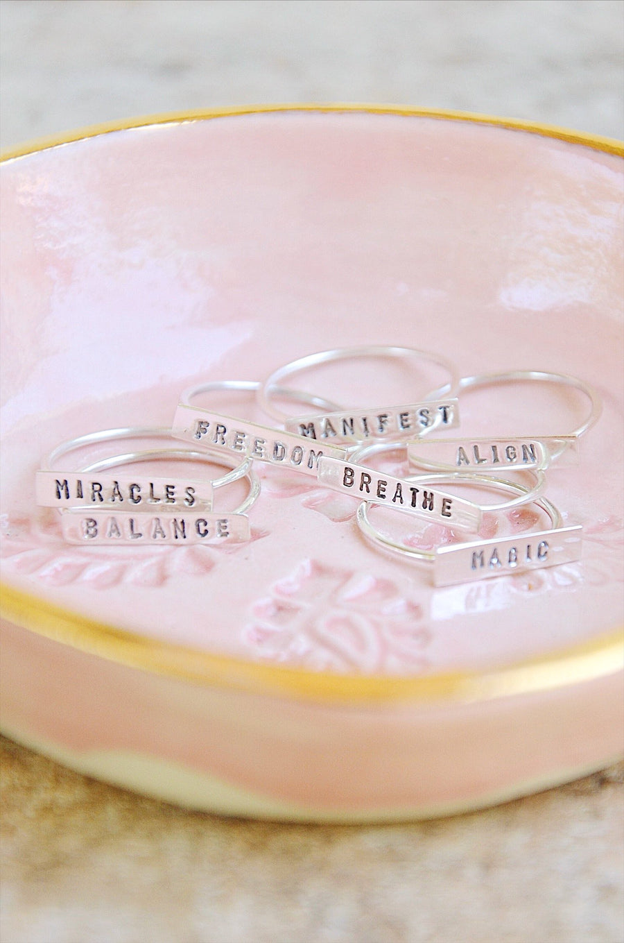 Sterling Silver Quote Word Rings, Intentional Jewelry