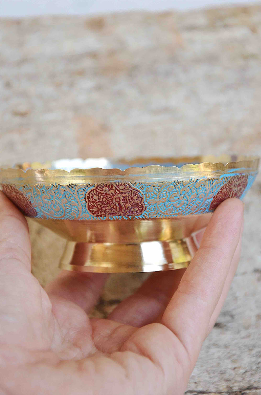 Peacock Painting Indian Brass Bowl Blue