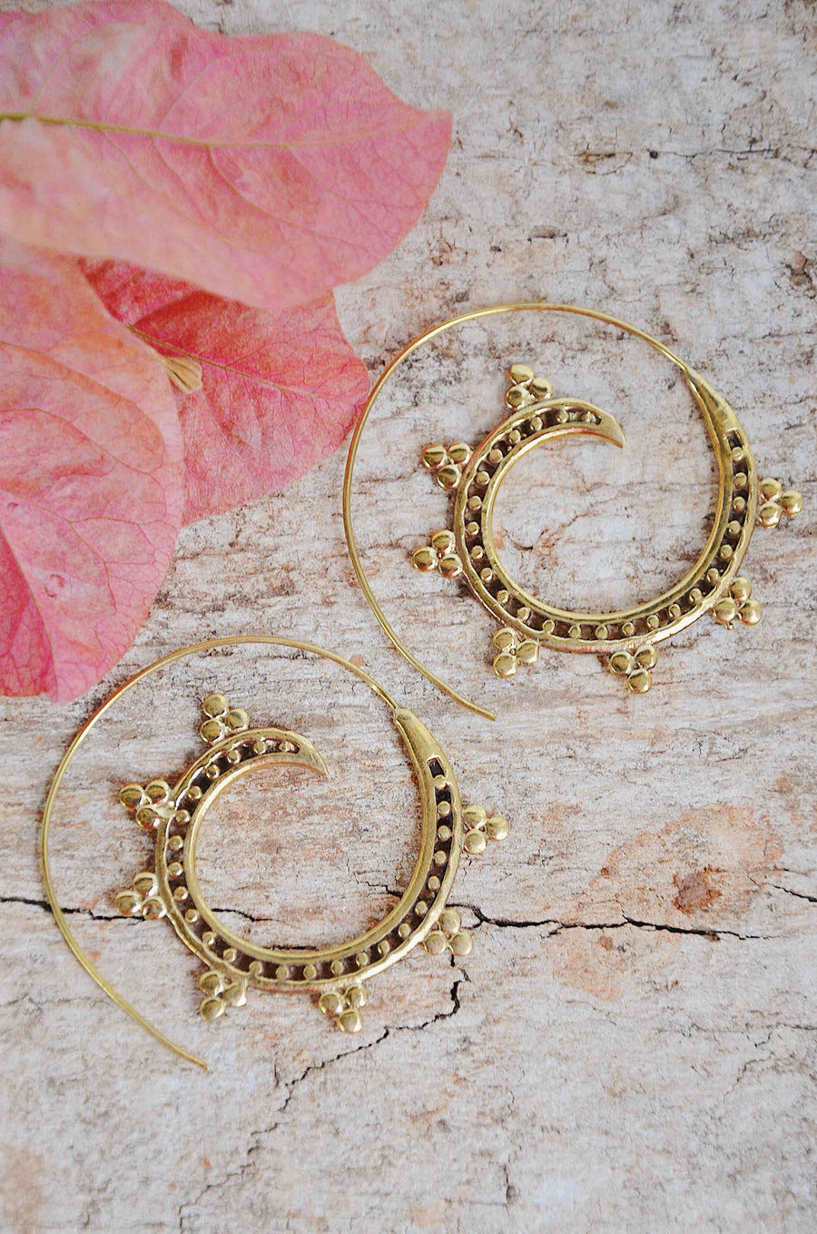 Brass Spiral Gold Hoops Earrings
