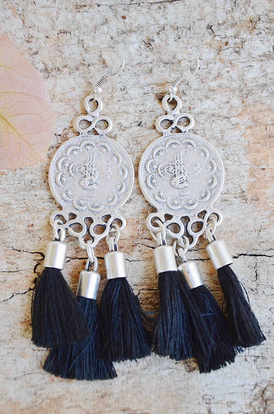 Silver Tassel Earrings Black