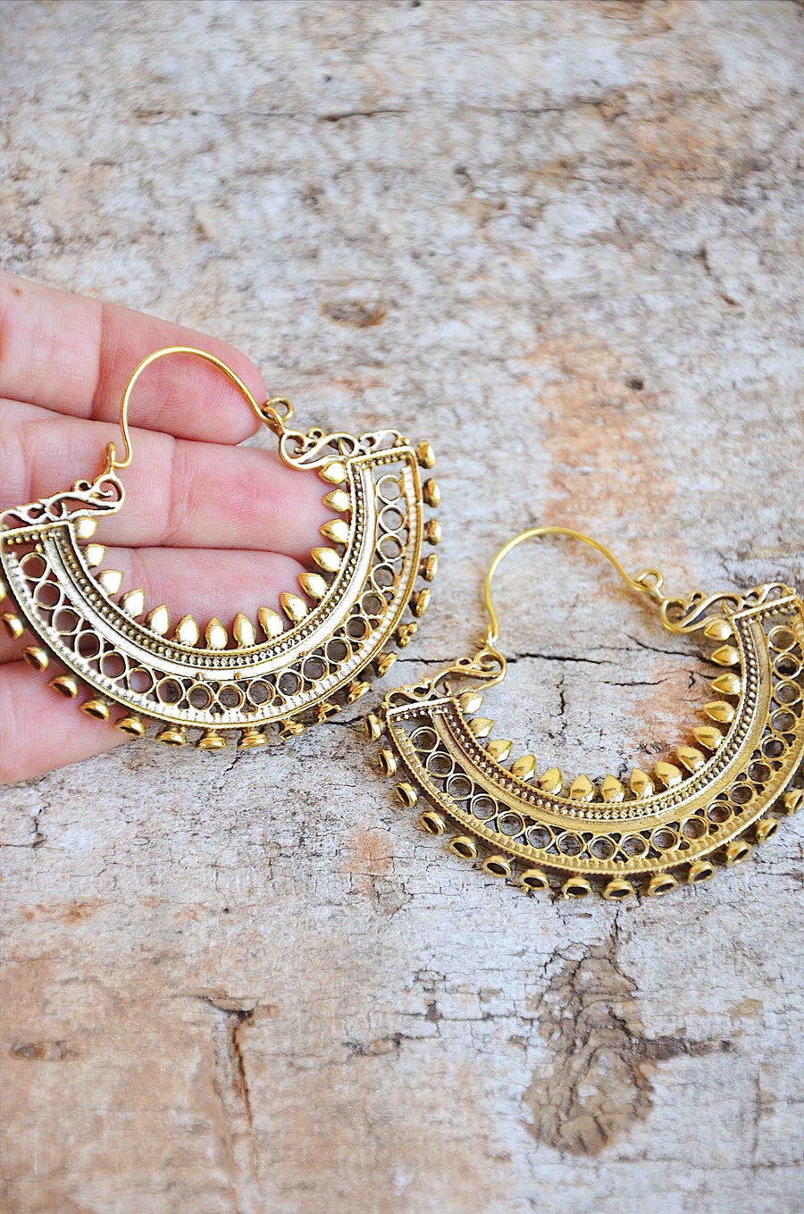Bohemian Indian Handmade Gold Brass Earrings