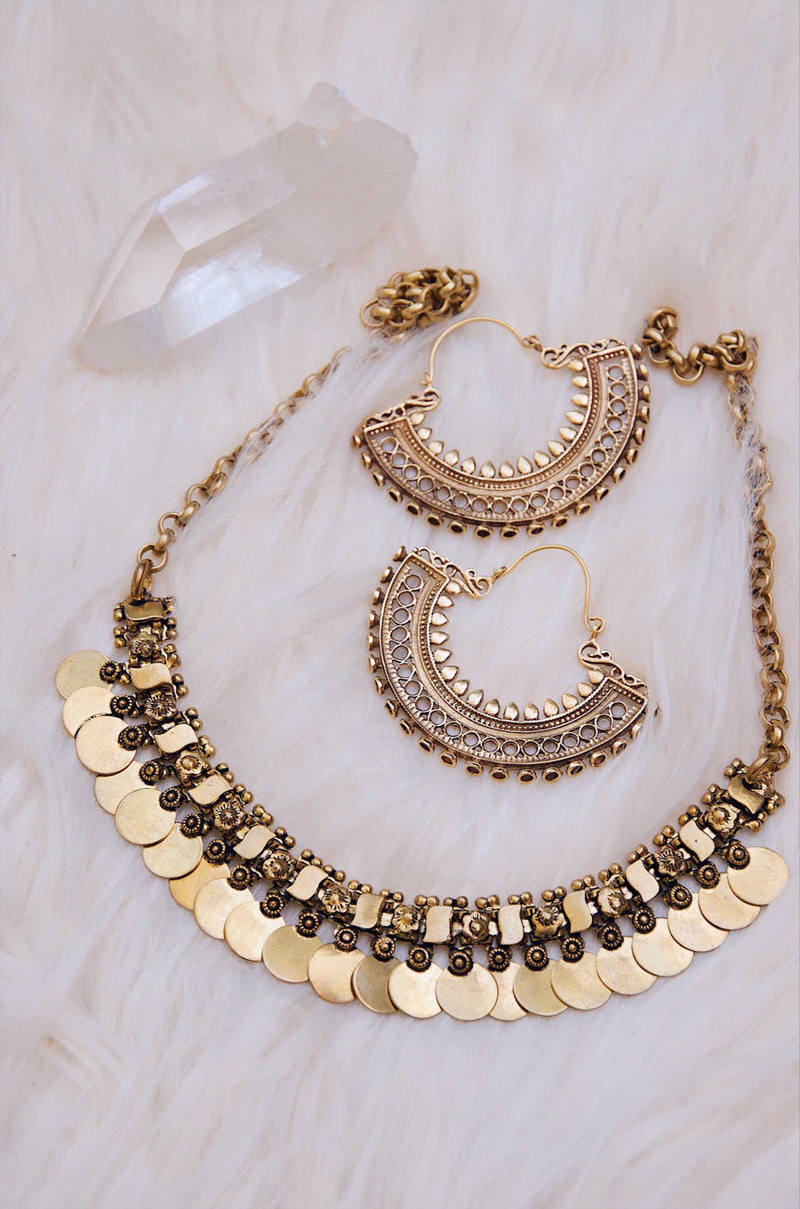 Brass Coin Collar Necklace
