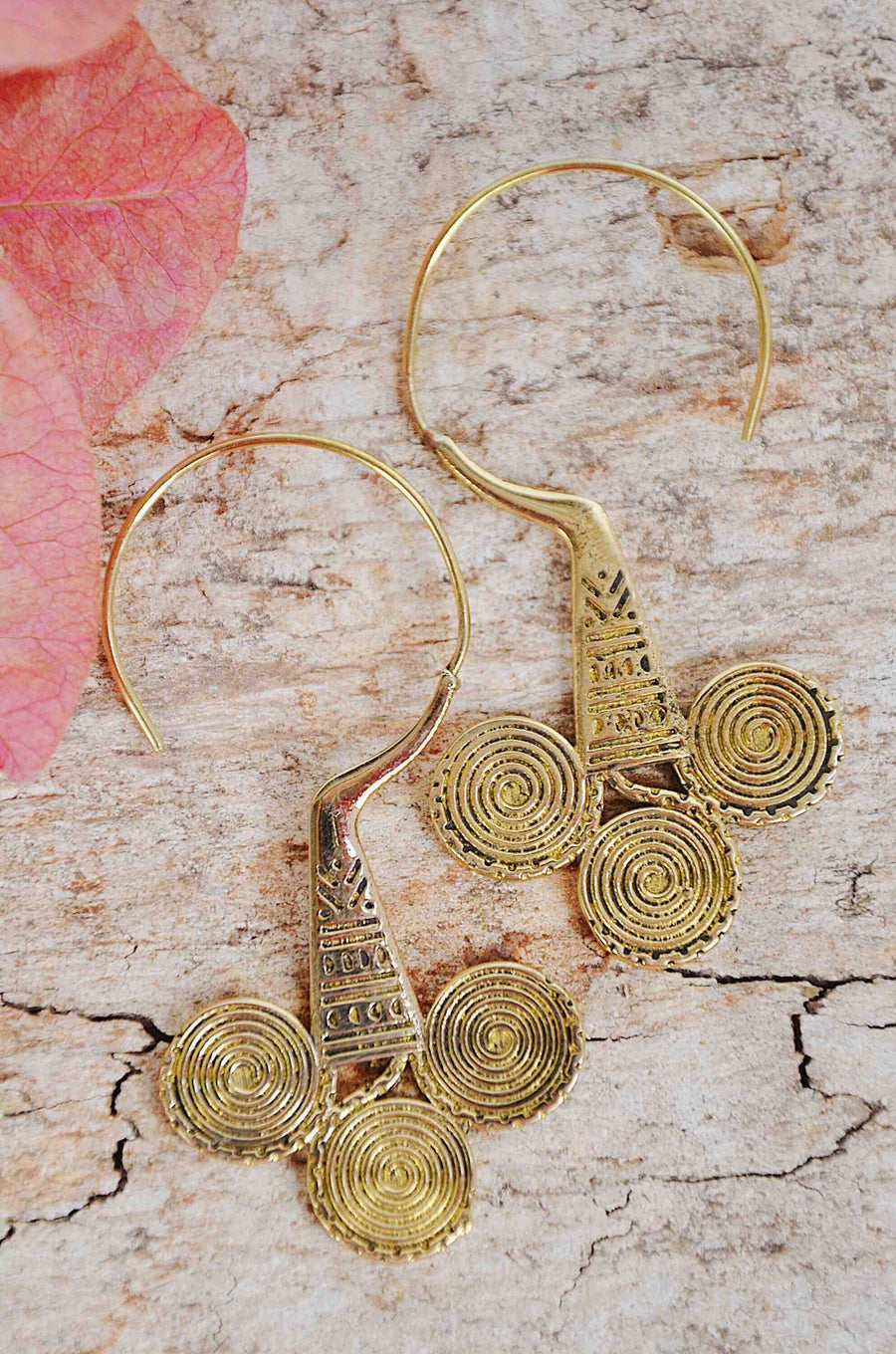 Bohemian Gold Brass Earrings