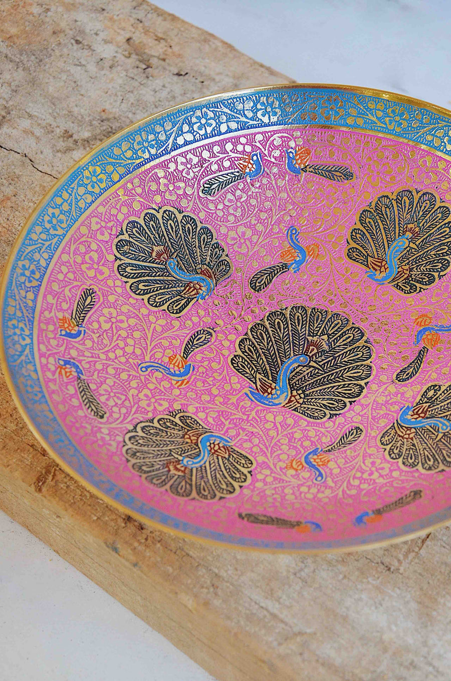 Ornamental Brass Peacock Indian Bowl Pink