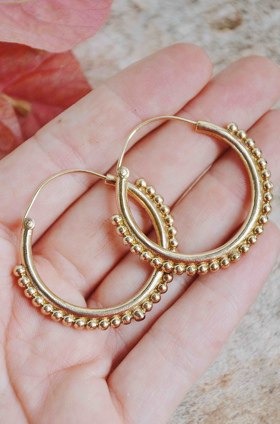 Gold Brass Hoops Earrings