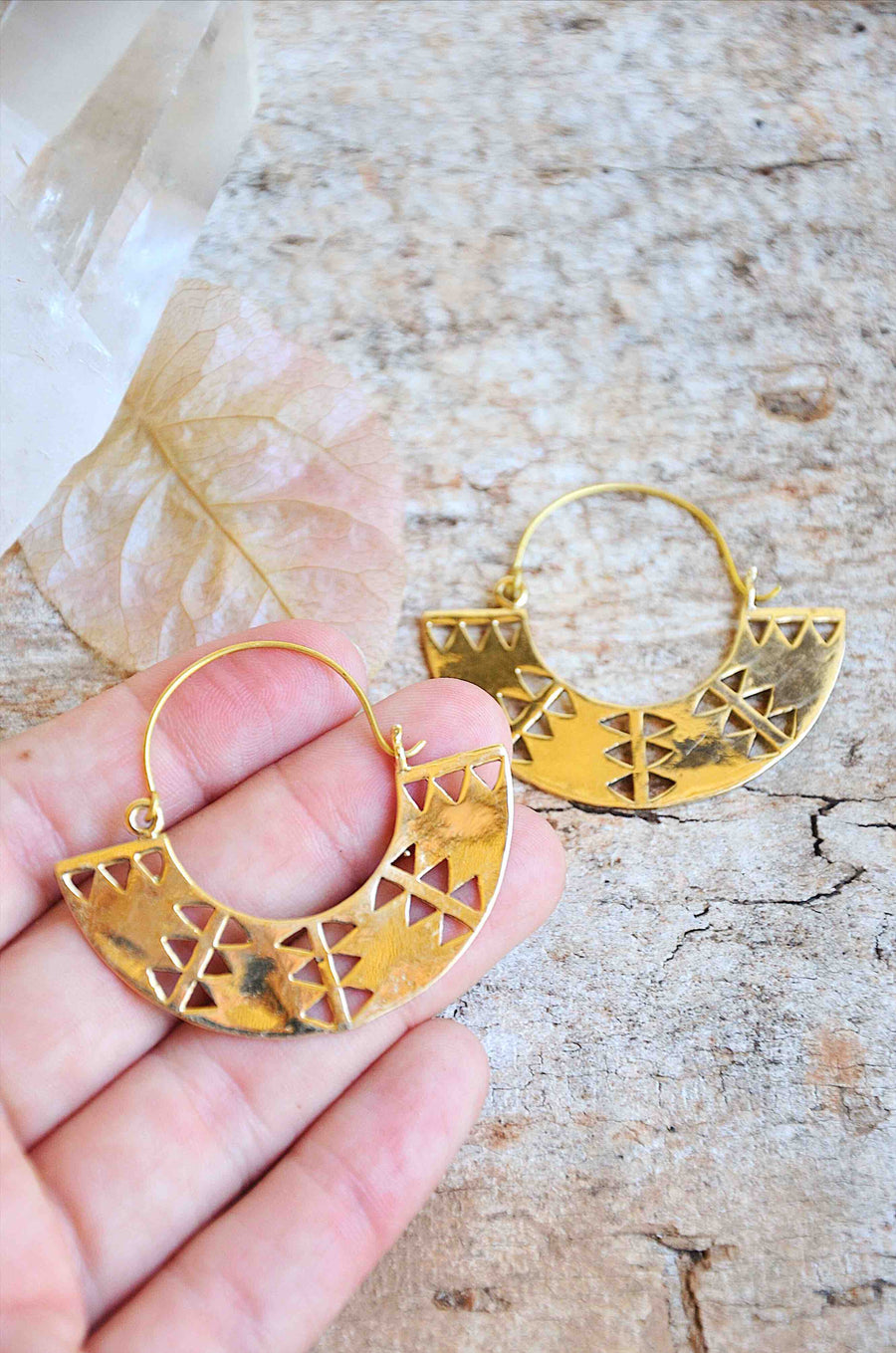 Bohemian Handmade Gold Brass Earrings