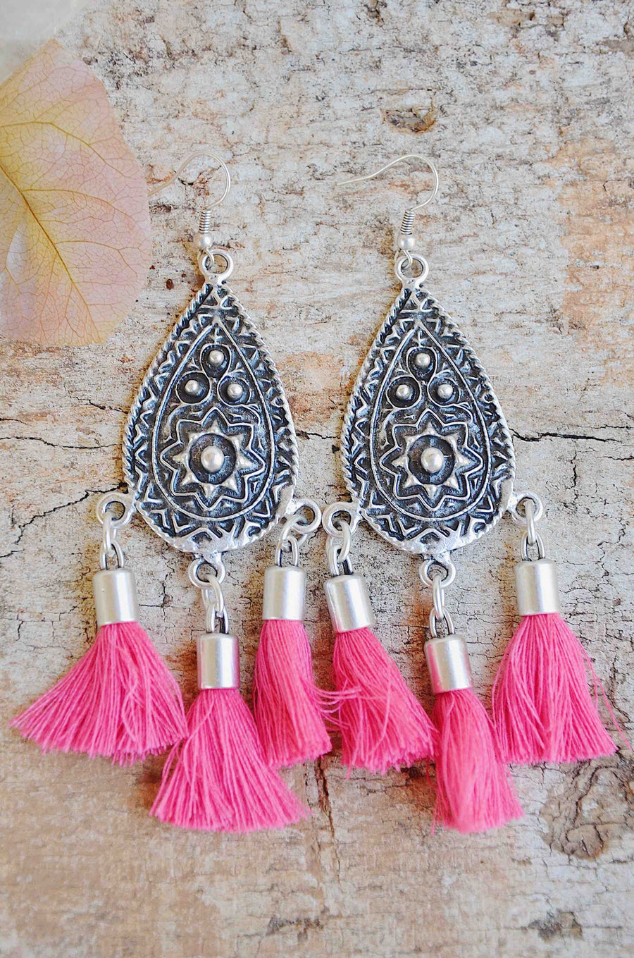 Handmade Silver Tassel Earrings in Pink