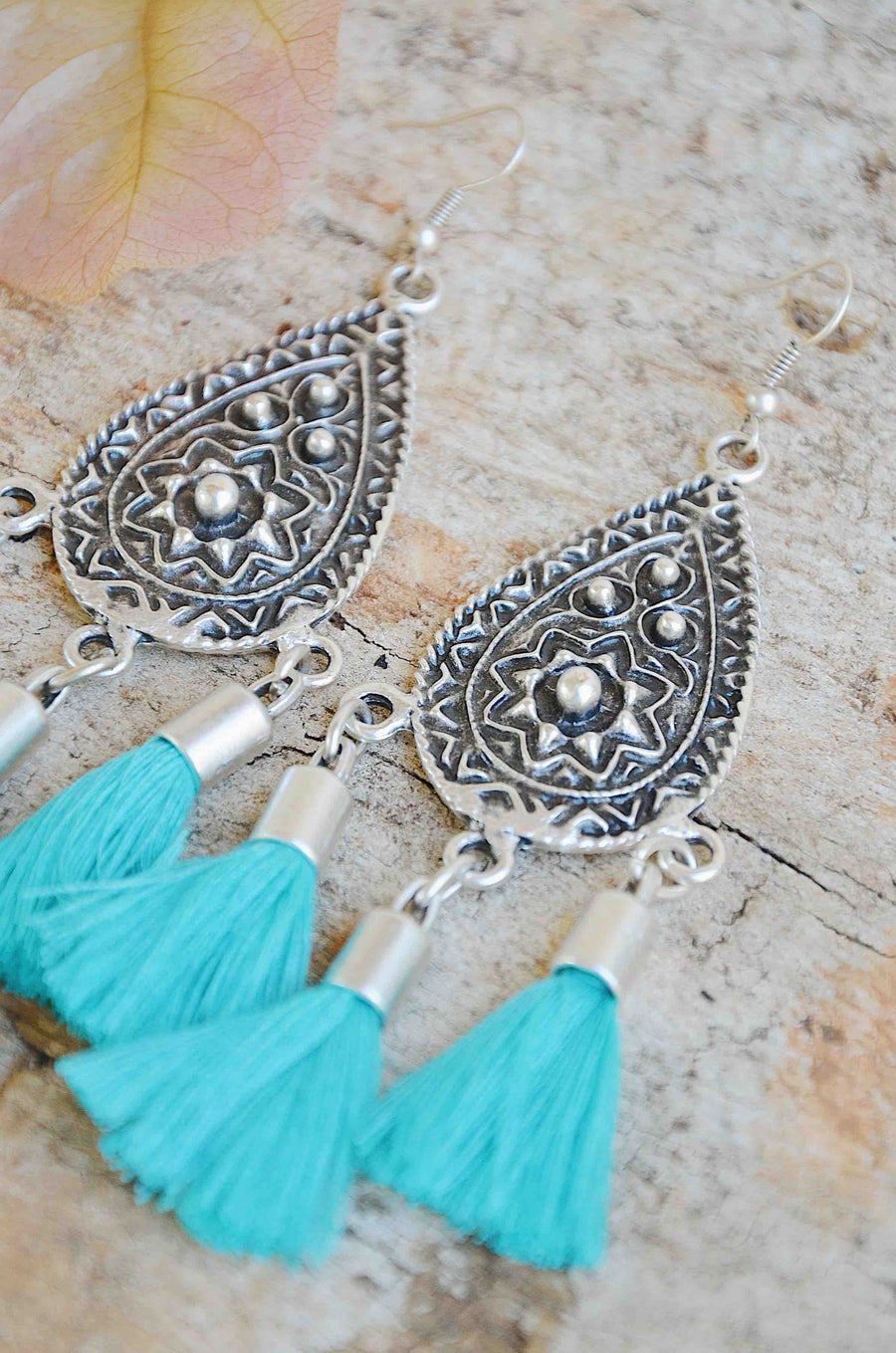 Handmade Silver Tassel Earrings In Blue