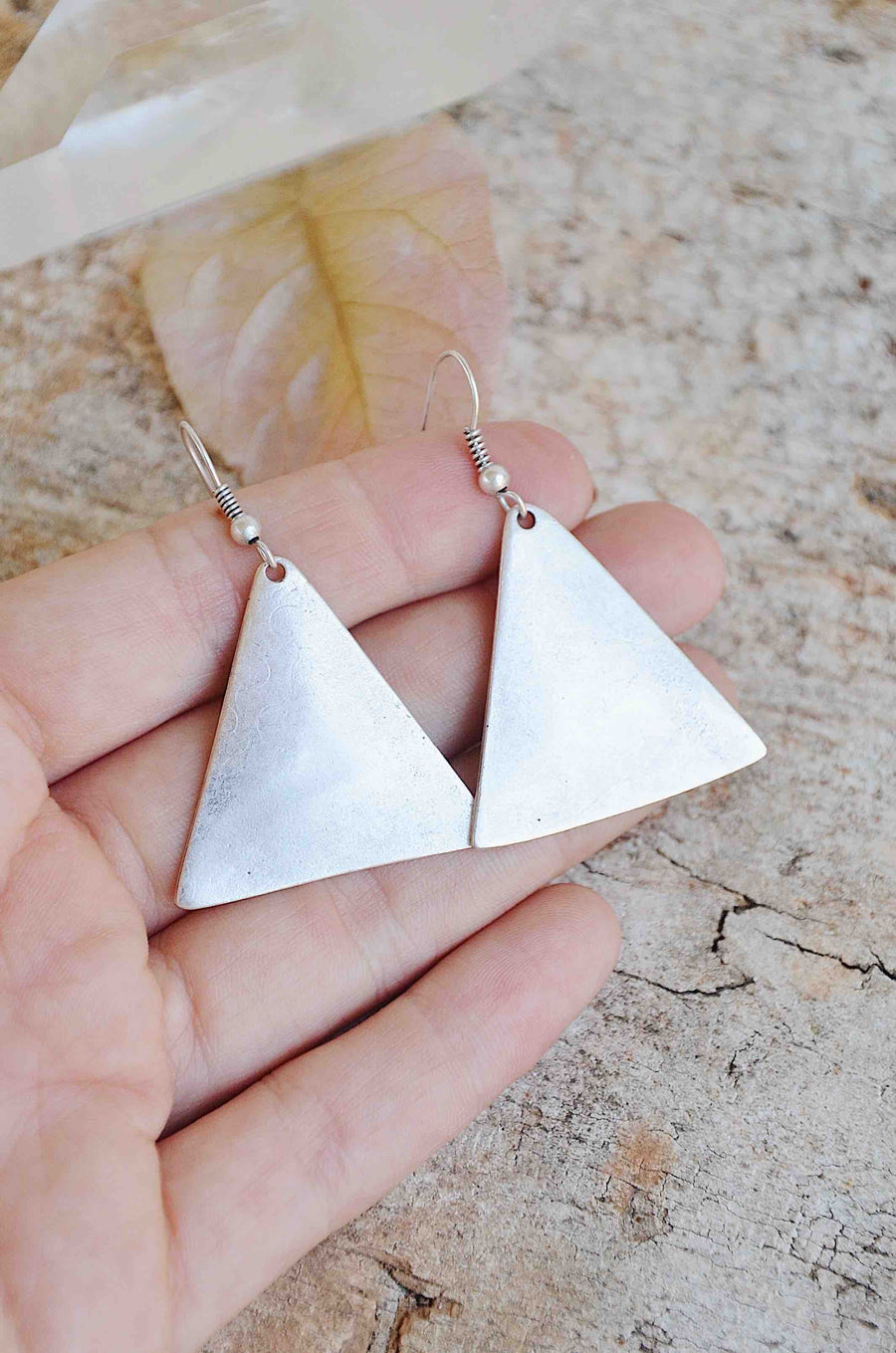 Handmade Silver Triangle Elemental Earrings