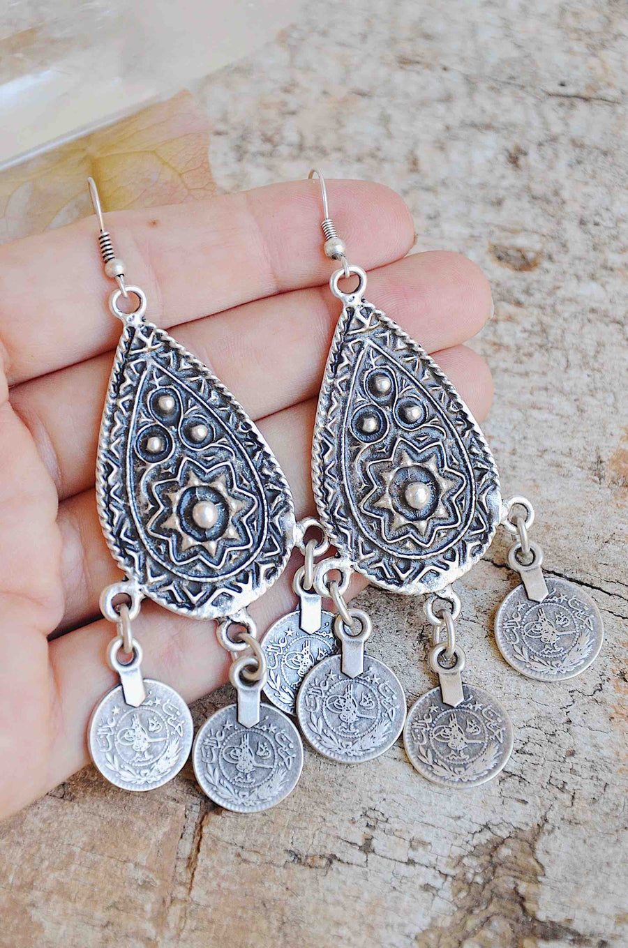 Handmade Turkish Silver Coin Earrings