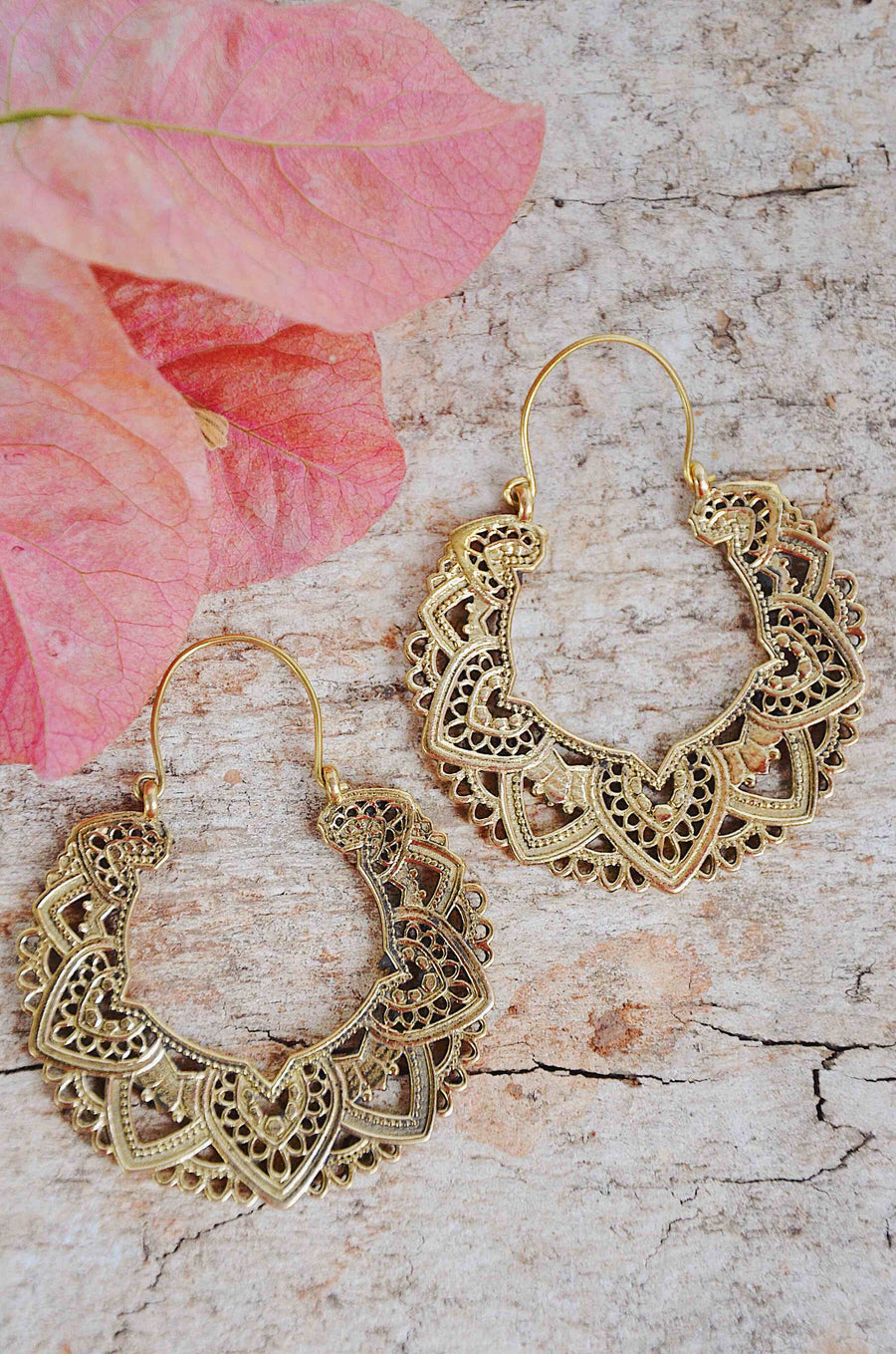 Floral Henna Brass Earrings